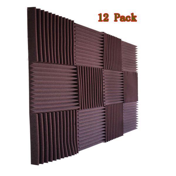 "top popular 12PCS Studio Acoustic Foam Wedge Soundproof Panel Soundinsulation Sponge Recording Studio Noise Cancellation 12x12x1"" 2021"