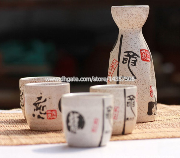 Elegant Japanese Sake Set Ceramic Sake Bottle and Cups Wine Gifts White Hand Painted Chinese Calligraphy Dragon Design