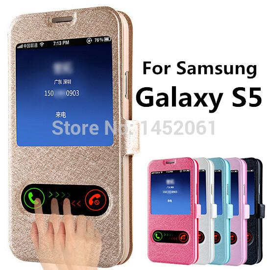 Wholesale- S5 Silk Pattern Flip Cover Case For  Galaxy S5 i9600 Leather Phone Bag With Stand Design Function Galaxi S 5 Cases