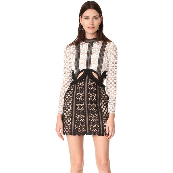2017 new design women's runway fashion long sleeve bodycon lace crochet floral hollow out pencil dress short dress SML