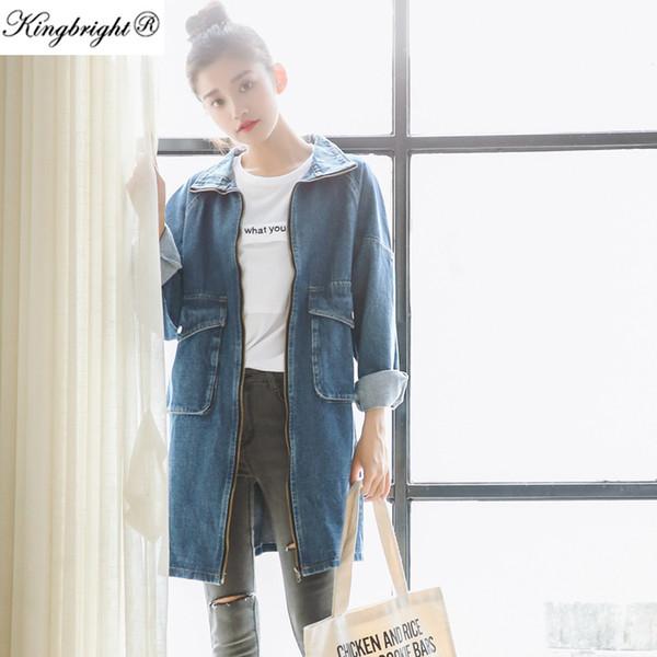 Wholesale- Kingbright Brand New 2016 Spring Long Sleeve Women Denim Jacket Frayed Jeans Jacket Overcoat Jean Coats plus size women Outwear