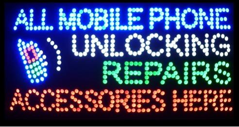 """Hot Sale 15.5""""X27.5"""" indoor Ultra Bright flashing repairs all mobile phone unlocking accessories business shop sign of led"""