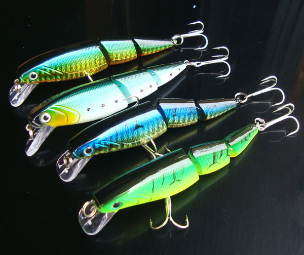 Fishing Three Segment Lures Minnow Hard Bait 16g/10cm Professional Artificial Lure 3D Eyes Lot 4 Pieces Free Shipping