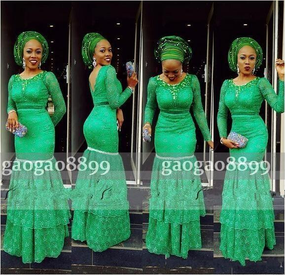 2019 Nigerian Lace Styles Mermaid Formal Evening Dresses Prom Party Wear Pageant Gowns Tiered Long Sleeves Floor Length Plus Size