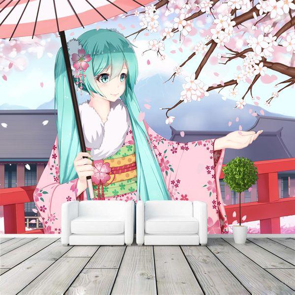 Hatsune Miku Fototapete Japanisch anime Tapete Benutzerdefinierte 3D Wandbilder Kinder Mädchen Schlafzimmer Wohnzimmer Shop Kunst Raumdekor Rosa Sakura