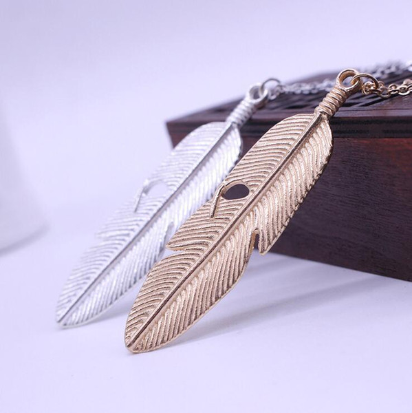 Simple Style 2 color Metal Leaf Feather Design Pendant Sweaters Long Necklace Long Chain Vintage Charm Jewelry Gift D295L