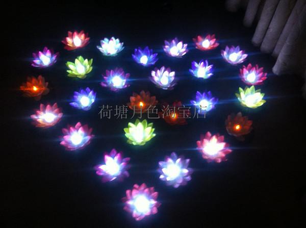 19 CM LED Artifical Lotus flower Colorful Changed Floating Water flower swiming Pool Wishing Light silk Lanterns Party supply 30pcs/lot
