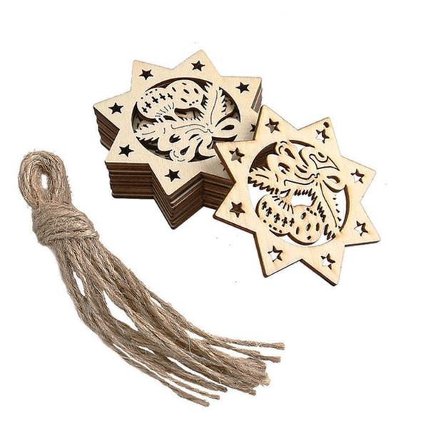 10 Pcs/set Wood Octagon Bells Embellishments Rustic Christmas Decorations For Home Xmas Tree Hanging Ornament Navidad Decor Top Quality