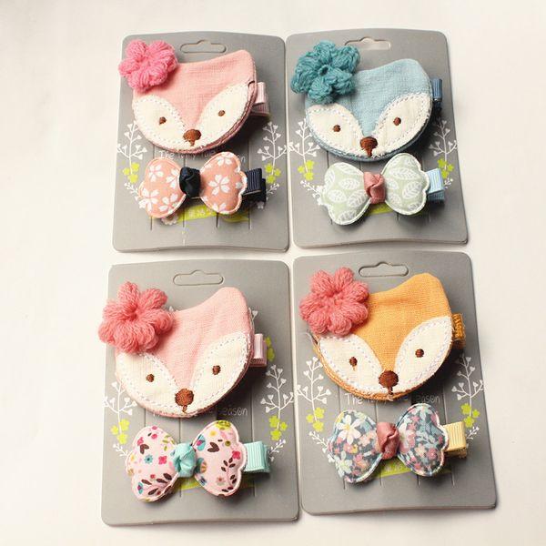 Bows Hair New Korean Style Princess Girls Felt Fox Kid Hair Clip Bowknot 10sets /Lot Cartoon Design Fox With Wool Flower