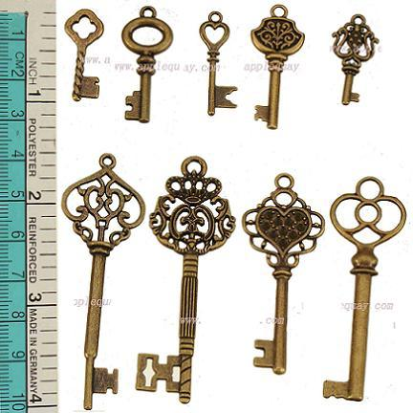 Encantos definir mix de jóias de bronze antigo chaves de metal grande pequeno diy acessórios de moda jóias para jóias pulseiras colares fazer 135 pcs