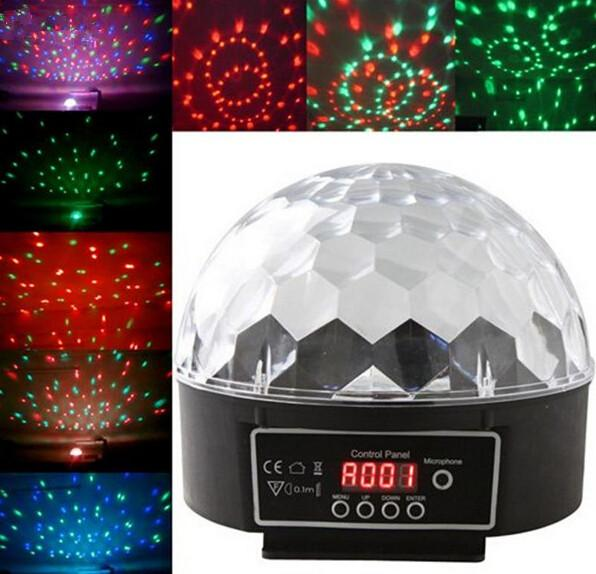 Mini Voice-activated Disco DJ Stage Lighting LED RGB Crystal Magic Ball 6CH DMX 512 light 20W KTV Party stage light