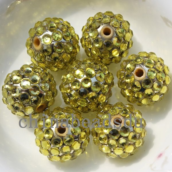 16MM 50pcs/lot 6 rows AB color micro diamonds paved acrylic spacer charms round necklace beads