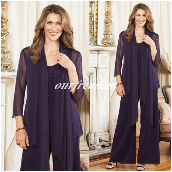2019 Plus Size Mother of the Bride Pant Suits With jacket Purple Chiffon Long Sleeve Bride Mother Gowns Formal Evening Prom Party Gown