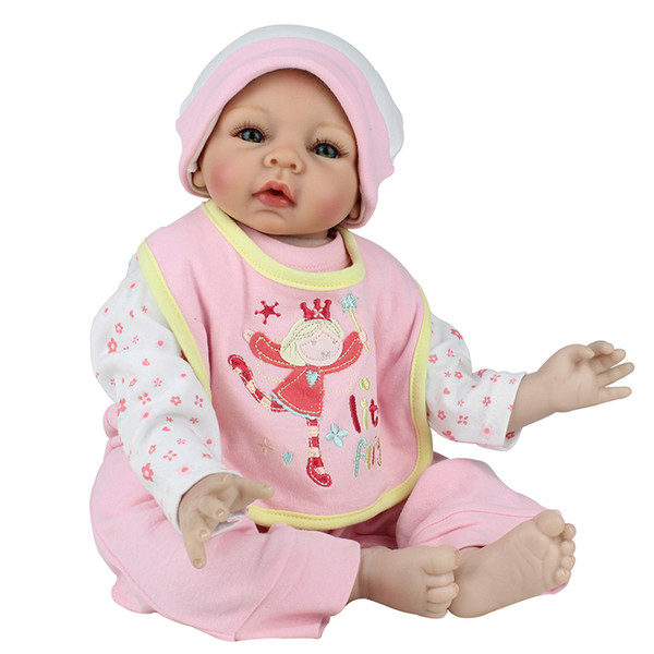 Wholesale- Lifelike Silicone Reborn Baby Doll Girl Kids Playhouse Toy,22-Inch Pink Outfit