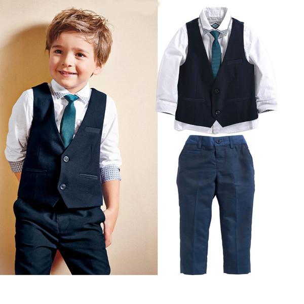 End-March in Stock Handsome Boys 4PCS Sets White Cotton Shirt+Vest+Necktie+Pants Gentleman Suit Outfits Autumn Winter Clothing K2986