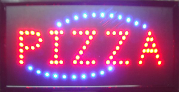 Nueva llegada personalizada led signos de pizza signos de pizza de neón signo de pizza de neón cartelera semi-tamaño exterior 48 cm * 25 cm