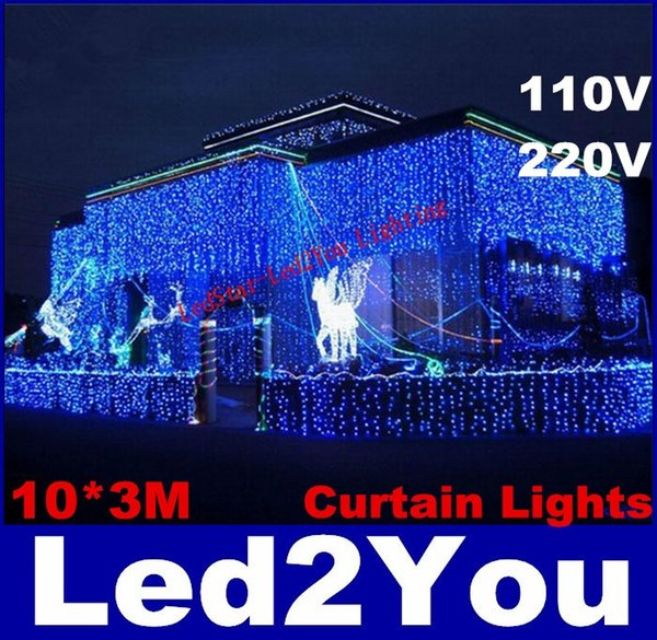 Hot Sale Curtain String Lights Garden Lamps New Year Christmas Icicle LED Lights Xmas Wedding Party Decorations 1000LEDs 10M*3M