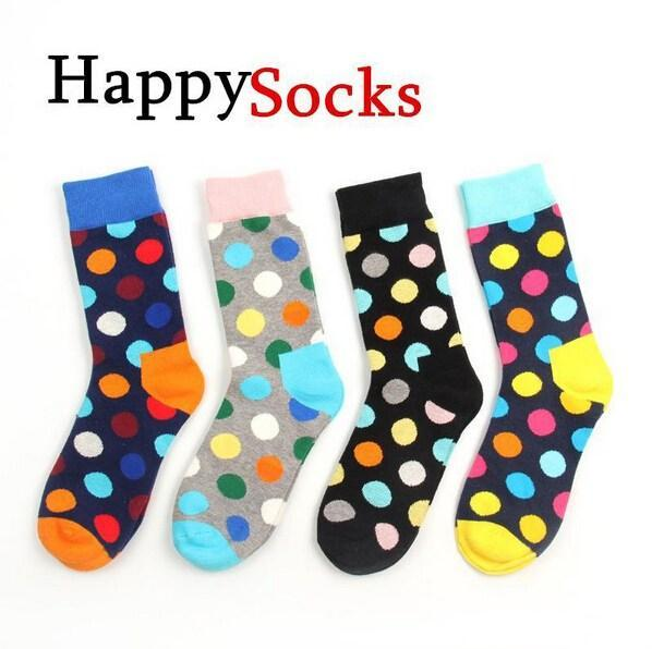 best selling 24pcs=12pairs Happy socks fashion high quality men's polka dot men's casual cotton socks color