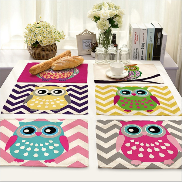 Wholesale- Home Decor Cartoon Owl Placemat Linen Fabric Table Mat Dishware coasters For Kitchen Accessories Wedding Party Decoration