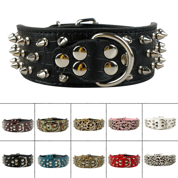 Large Spiked Studded Leather Dog Collars Colorful Mixed Order Pit Bully Mastiff Free Shipping Pet Products