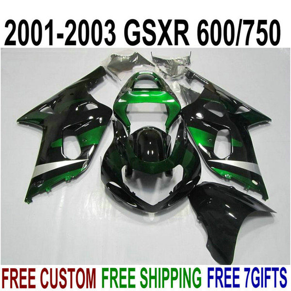 Bodywork fairings set for SUZUKI GSXR600 GSXR750 2001-2003 K1 bodykits 01 02 03 GSX-R 600 750 green black fairing kit XA77