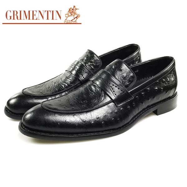 GRIMENTIN Hot sale fashion designer formal mens dress shoes genuine leather slip on male loafers Italian black business wedding men shoes K1