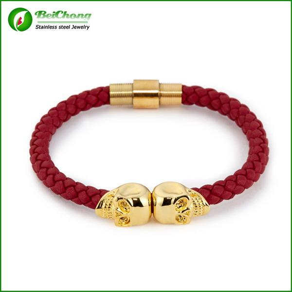 red leather with gold