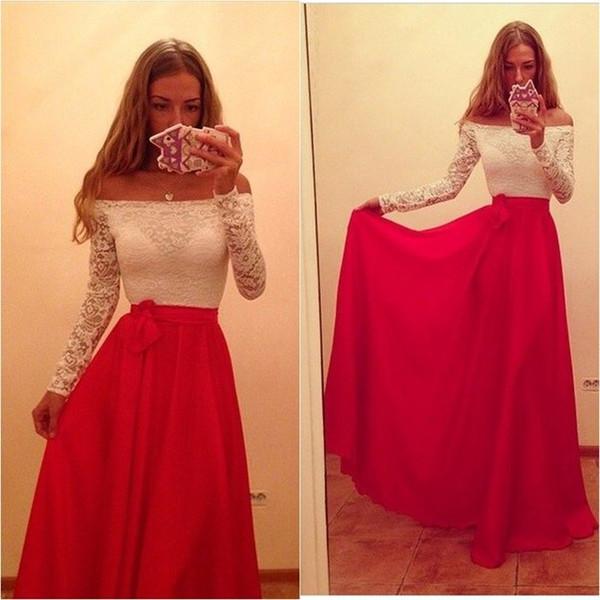 2019 barato, blanco y rojo, fuera del hombro, vestido de fiesta, manga larga, longitud del piso, encaje sexy, gasa, vestidos de noche, vestido de fiesta largo con mangas