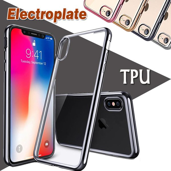 Chapeamento dourado Galvanoplastia macia Limpar TPU Silicone Case Capa Transparente Ultra Slim para o iPhone 11 Pro Max XS XR X 8 7 6 6S Além disso,