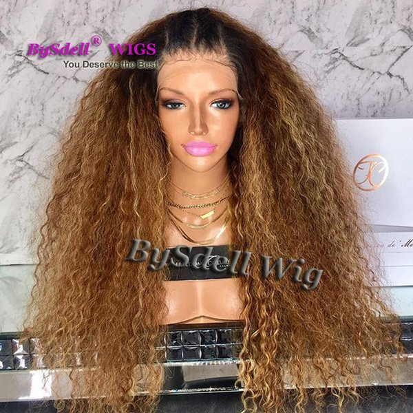 Polished Brown Honey Blonde Color Fluffy Kinky Curly Hair Wig With Black Roots African American Synthetic Lace Front Wigs For Black Woman Janet