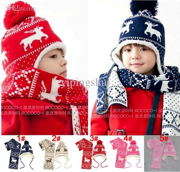 Wholesale-Hat + Scarf Autumn and winter Christmas magic deer and velvet ear protectors child hats Boy Kids warm Cap m39