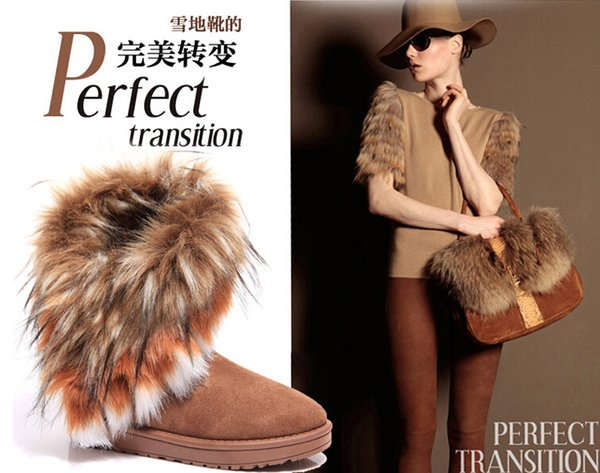 FREE SHIPPING Wholesale shoes women imitation fox fur snow boots Mid-Calf winter shoes boots for women hot fashion new style 2017 new