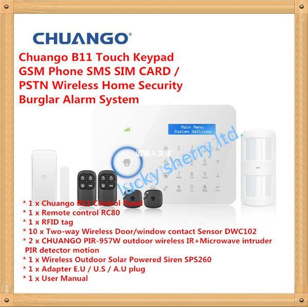 APP Control Smart Home Chuango B11 Touch Keypad GSM Phone SMS SIM CARD / PSTN Wireless Home Security Burglar Alarm System