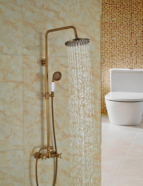 Wholesale And Retail Modern Antique Brass Round Rain Shower Faucet Dual Cross Handles Valve Mixer Tap Shower Column