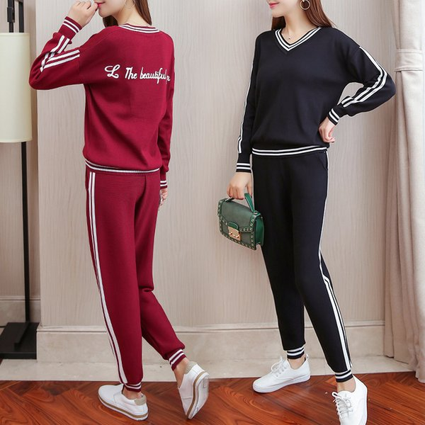 7f2239f2e 2019 Fashion Elegant Runway Knitted Striped Pant Suits 2017 Autumn ...