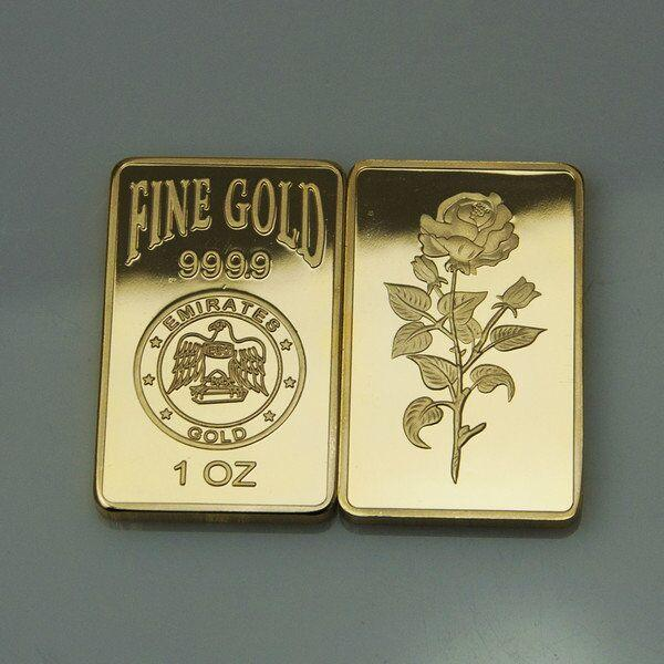 best selling 10 pcs lot, The Emirates one OZ real gold plated Rose bullion bar souvenir coin lover gift Christmas gift