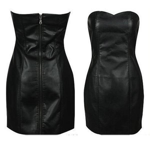 5fabd9df4e4 Wholesale-Black Faux Leather Pencil Bodycon Boob Tube Strapless Mini Skater  Dresses Summer Zipper Women Clubwear Midi Prom Dress Shapewear