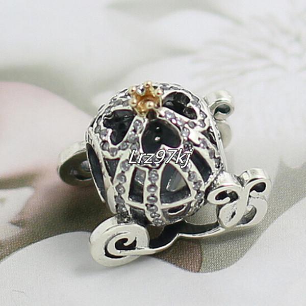 2015 neue 925 Sterling Silber 14 Karat Reales Gold Cinderella Kürbis Charm Bead Passend Europäischen Pandora Schmuck Armbänder Halsketten Anhänger