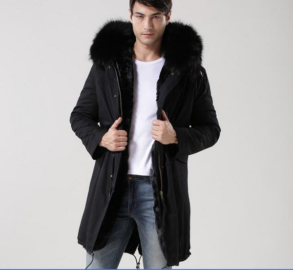 MEIFENG brand Classic black raccoon fur trim outdoor men snow fur coats rabbit fur lining black long parkas with ykk zipper