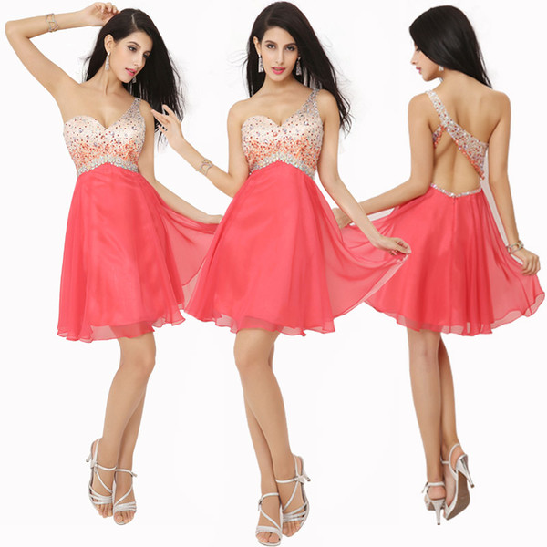 best selling In Stock One Shoulder Homecoming Short Prom Dresses Watermelon Red Crystal Beads Lilac Sexy Cocktail Graduation Party Gowns 2019 Cheap