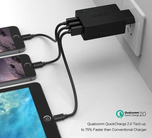 Aukey Quick Charge 2.0 42W 3 Ports Wall Travel Charger 5V/2.4A for iphone 6 6s plus ipad Galaxy S6 Edge