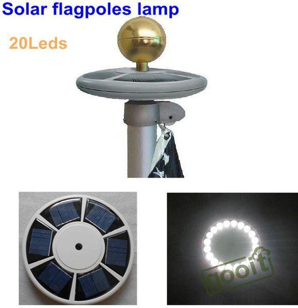 Alto brillo 20 LED Energía solar Poste de bandera Luz solar exterior Jardín Paraguas Paisaje LED spot light, dandys