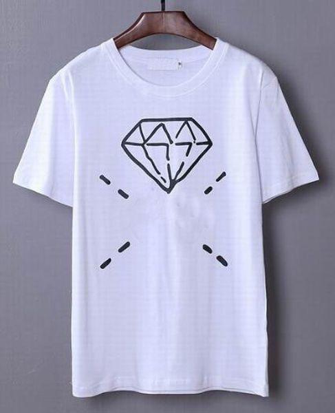 Top Express Italy Design Cotton T shirt Men Classic Summer T-shirts Diamond Printed Short Sleeve Fashion Fitness Hip Hop White