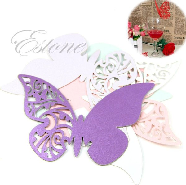Hot 50pcs/set for light blue Table Mark Wine Glass Butterfly Name Place Cards Wedding Party Favor