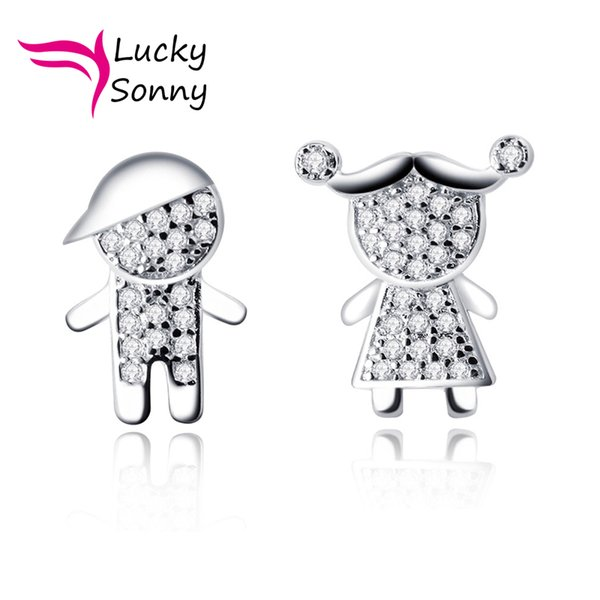 Silver Stud Earrings Brazil Style Joyas CZ Micro Pave 925 Sterling Silver Screwback Stud Fashion Brincos Lovely Boy and Girl Stud Earrings