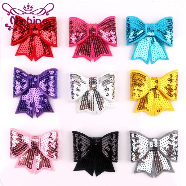 Nishine Large Embroideried Sequin Bows For Kids Headband Hair Clip DIY Hair Bow Hair Accessories(Color:10 Colors)