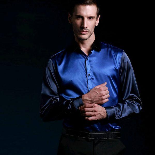 Wholesale- long sleeve silk men casual shirts thin plus size men wedding mens dress shirt soft casual shirt man chemise MC001