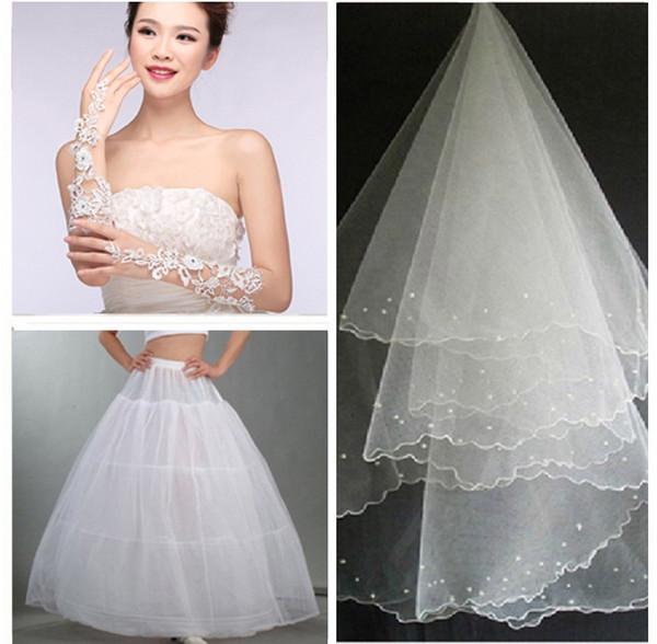 Shanghai Geschichte 3 Stücke Set Hochzeit Brautkleid Kleid Petticoat Krinoline Hochzeit Zubehör (Petticoats + Handschuhe + Schleier) heißer Verkauf