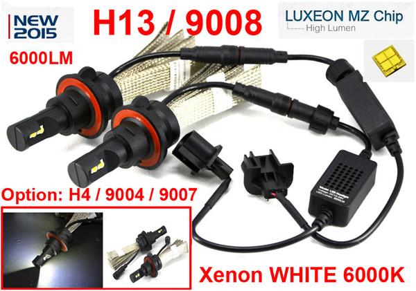 1 Set H13 9008 40W 6000LM CREE LED Headlight Driving Bulb LUXEON MZ 4-CHIP Hi/Low Beam Xenon White 6500K 12/24V Mix H4 9004 / 9007 LED Kit