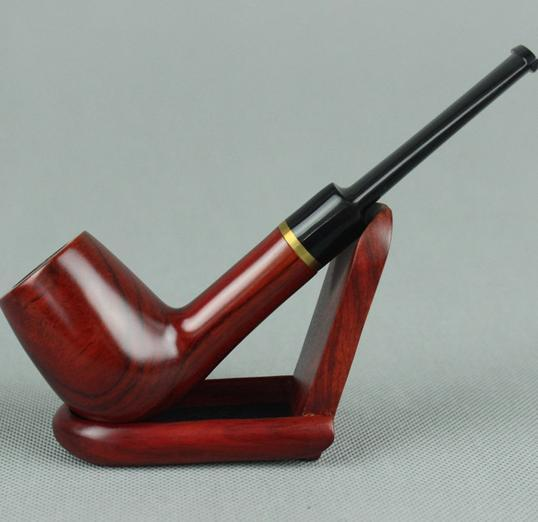 Wholesale hot sell Smoking Accessories Red sandalwood curved tobacco pipes 9mm filter element 519
